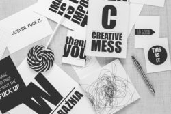 creative mess black and white photo