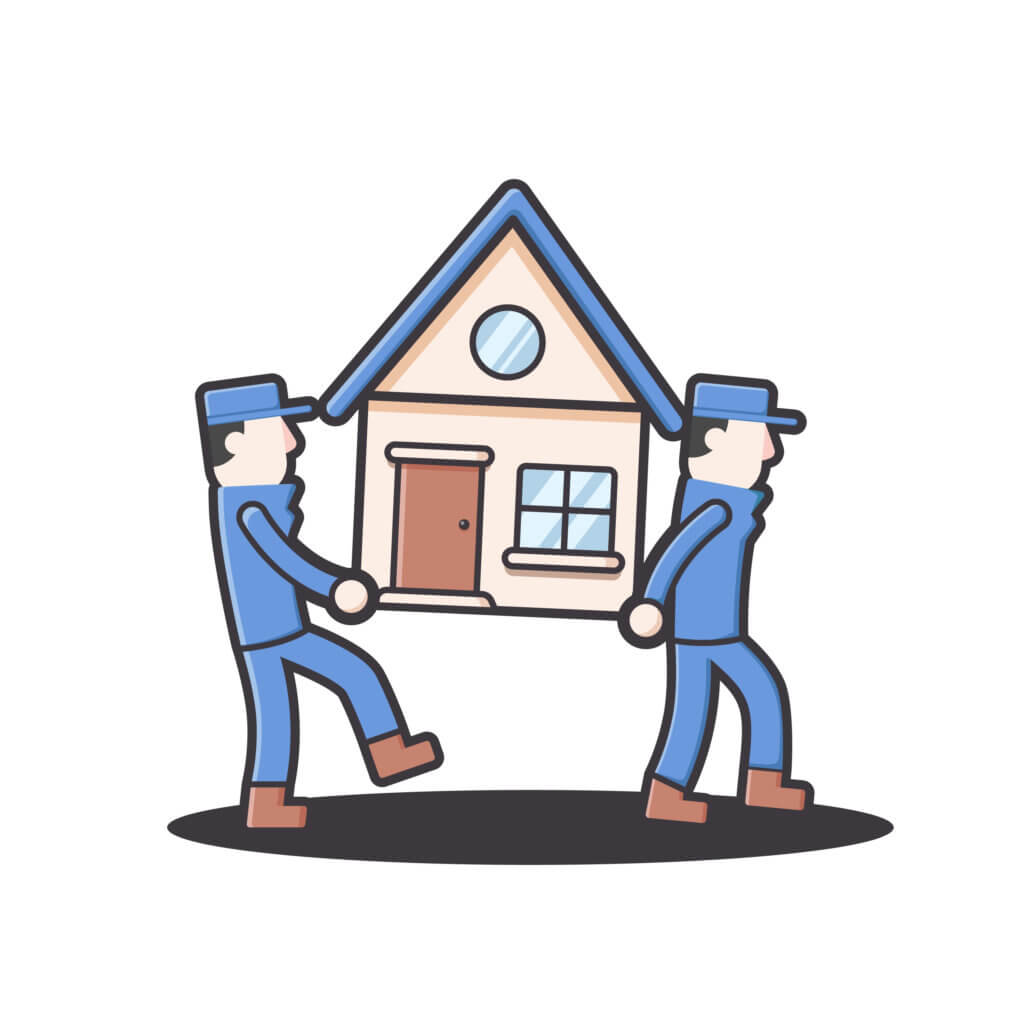 Moving house home work. moving and relocating worker company illustration in round flat style