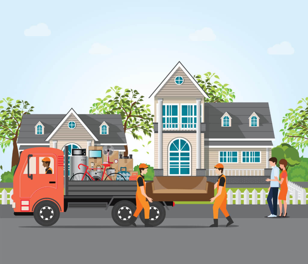 Couple moving into new house, employee moving furniture with service trucks, moving home and real estate conceptual Vector illustration.